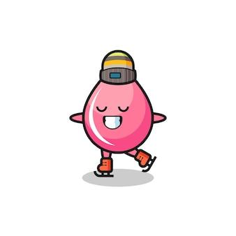 Strawberry drop juice cartoon als een schaatser die presteert, schattig stijlontwerp voor t-shirt, sticker, logo-element