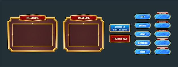 Stream-overlay, scherm voor streaming van game-twitch-frames
