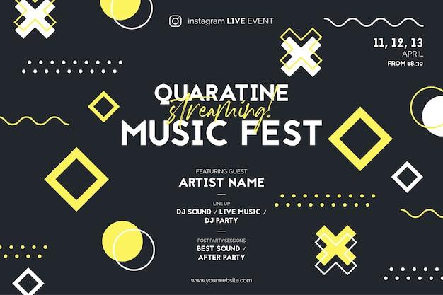 Streaming muziek fest poster voor live evenement op instagram