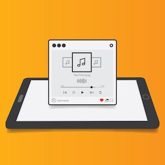 Streaming muziek speler applicatie met 3d tablet achtergrond, plat ontwerp stijl voor mobiele app, smartphones, pc of tablets. schoon en modern. vector illustratie.