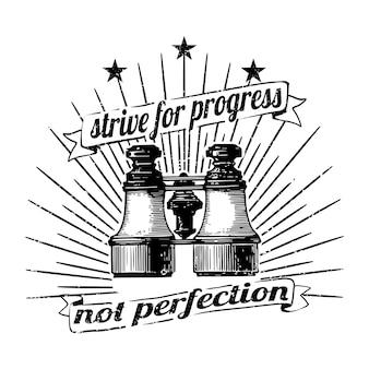 Streef naar vooruitgang, geen perfectievector