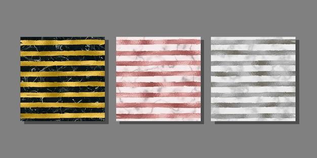 Streep goud zilver en roze gouden covers ingesteld op marmeren achtergrond metaalfolie abstracte sjablonen