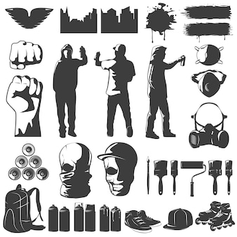 Street art zwart wit icons set