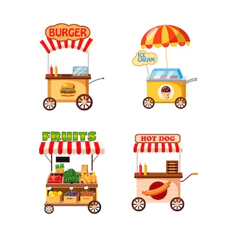Street cart winkel set. cartoon set van straatkar winkel