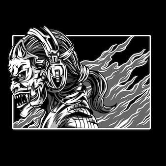 Street devils black & white illustratie