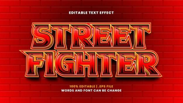 Street fighter bewerkbaar teksteffect in moderne 3d-stijl