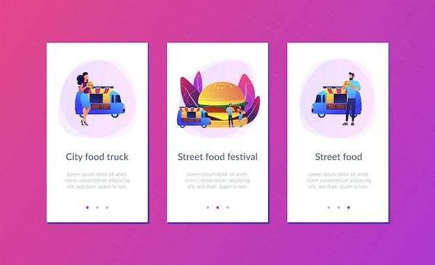 Street food app interface sjabloon.