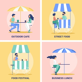 Street food cafe, festival banners set