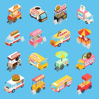 Street food karren isometrische pictogrammen instellen