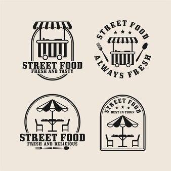 Street food ontwerp logo-collectie