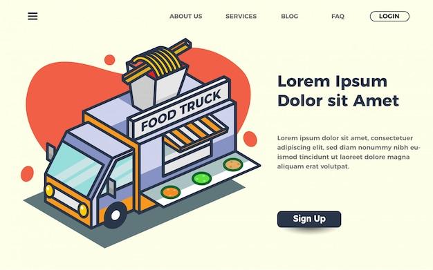 Street food-sjabloon voor bestemmingspagina met vrachtwagen vectorillustratie