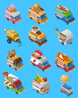 Street food trucks isometrische icons set