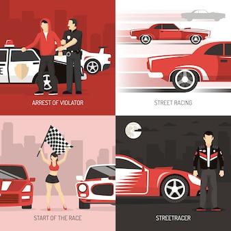 Street racing concept achtergronden met karakters