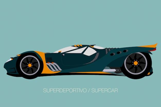 Street supercar, zijaanzicht, platte ontwerpstijl
