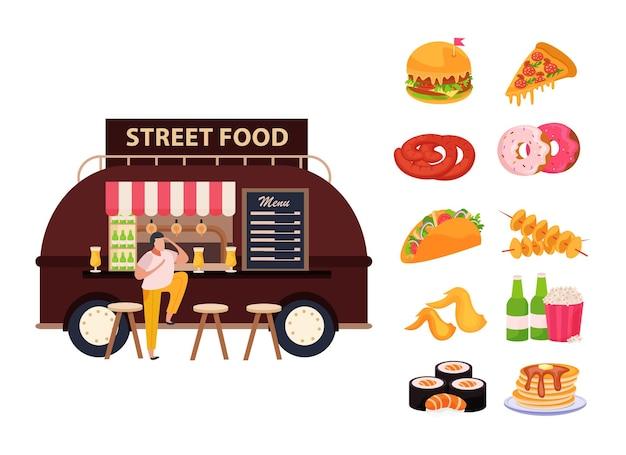 Streetfoodconcept met eten en drinken