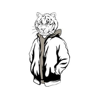 Streetwear hoofd tijger zwart en wit
