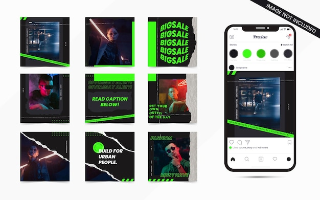 Streetwear urban fashion sale set van social media post feed banner voor instagram puzzel vierkante promotiesjabloon
