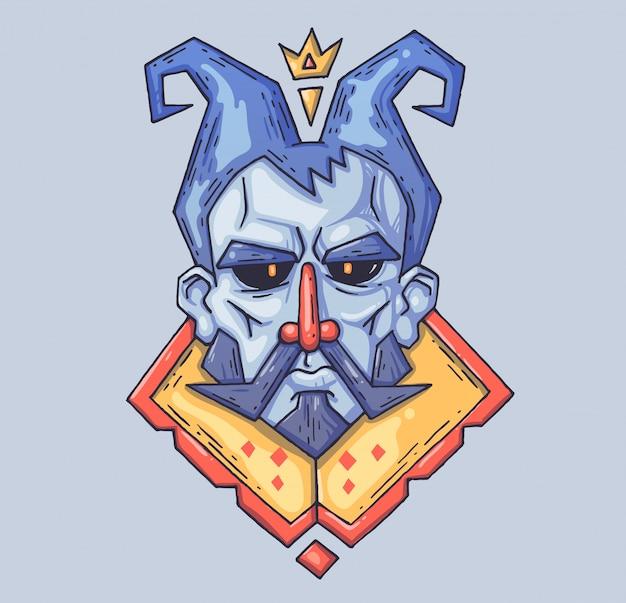Streng gezicht van de sprookjesachtige koning.