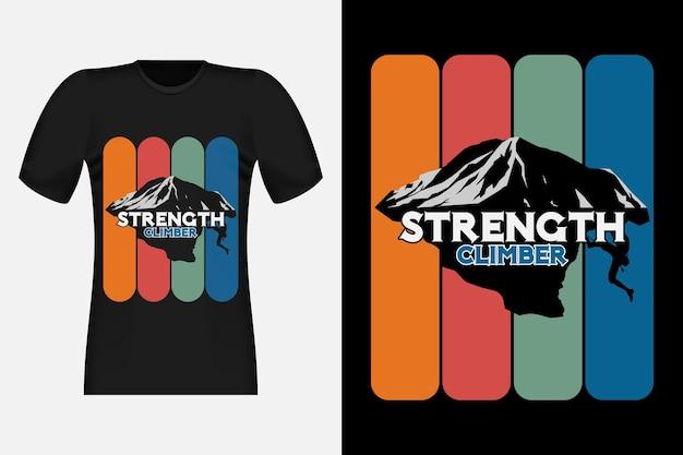 Strength climber met silhouet vintage retro t-shirtontwerp