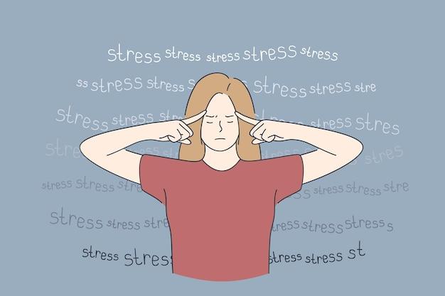 Stress, burn-out, vermoeidheid concept