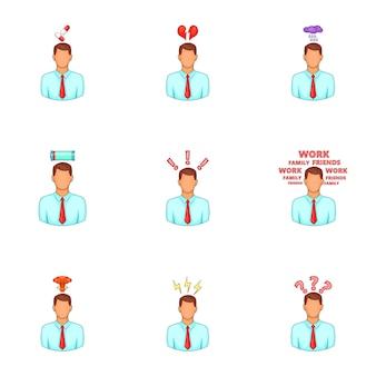 Stress en depressie iconen set, cartoon stijl