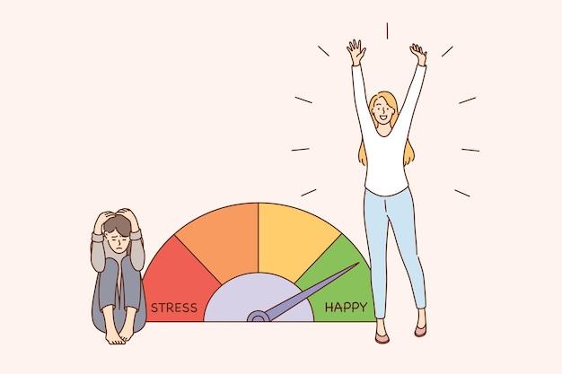 Stress en uitputting overbelasting concept