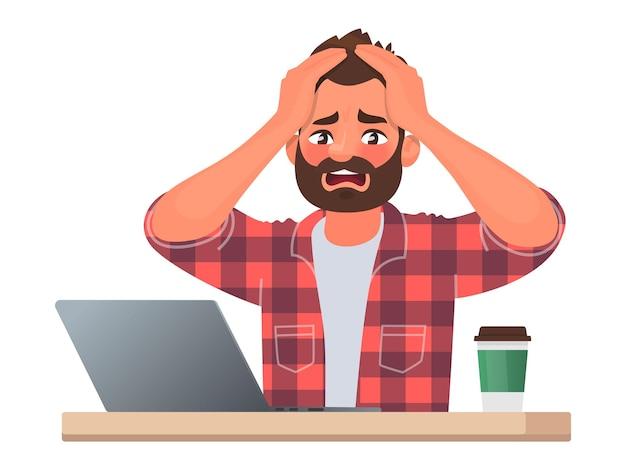 Stress of deadline op het werk. een zakenman greep in paniek naar zijn hoofd. het slechte nieuws. vectorillustratie in cartoon-stijl