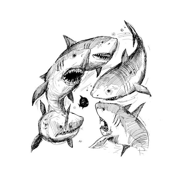 Stress onder werkplek shark voorzichtigheid hand getrokken schets vectorillustratie
