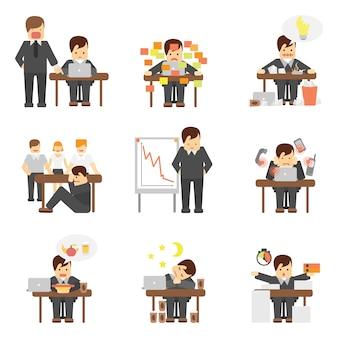 Stress op het werk iconen set