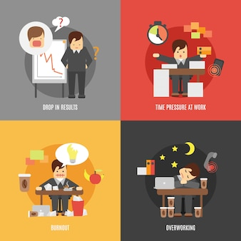 Stress op het werk plat pictogrammen samenstelling