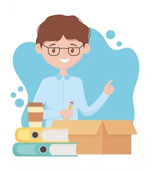 Stress op het werk, zakenman met vak potlood boeken en koffiekopje