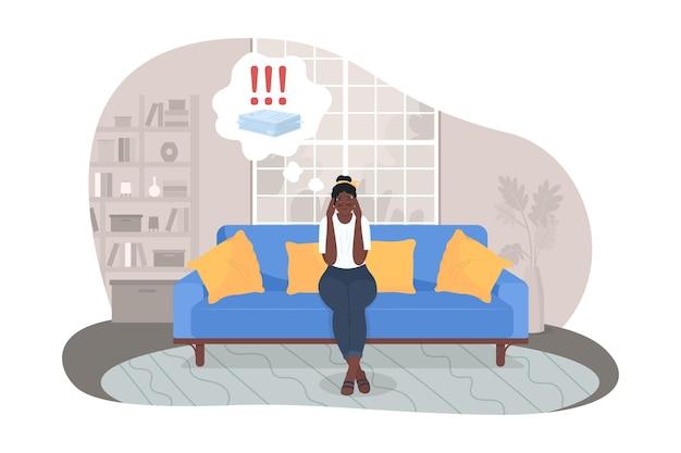 Stress over werk 2d vector geïsoleerde illustratie