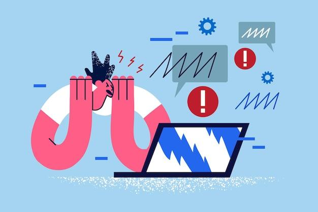 Stress overwerk deadlines op het werk concept