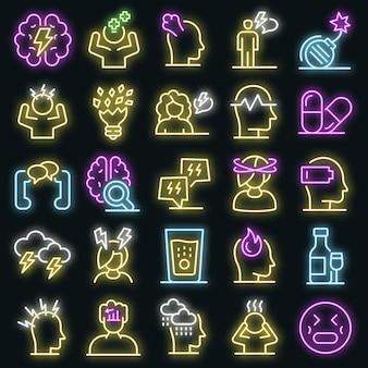 Stress pictogrammen instellen. overzicht set van stress vector iconen neon kleur op zwart