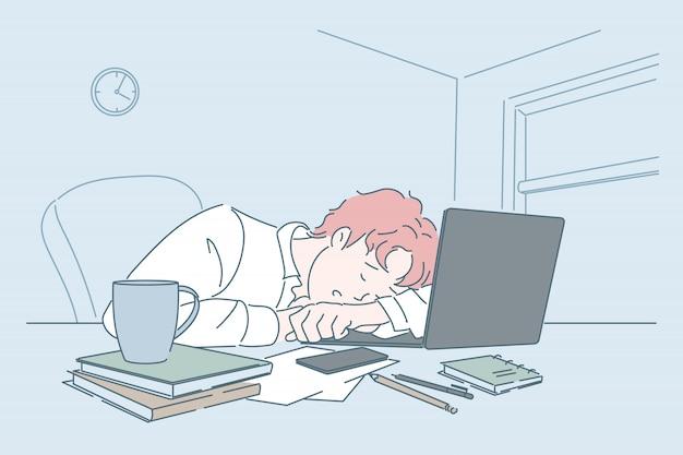 Stress, zwakte, vermoeidheid, slaap op de werkplek concept.