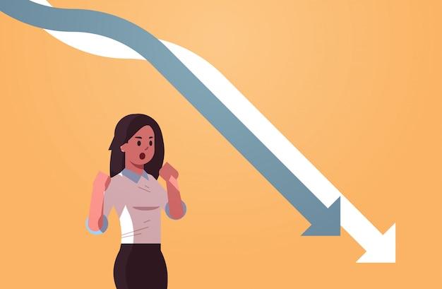 Stressvolle businesswpman kijken naar vallen economische pijlen grafiek grafiek financiële crisis failliet investeringen mislukking risico concept portret horizontaal