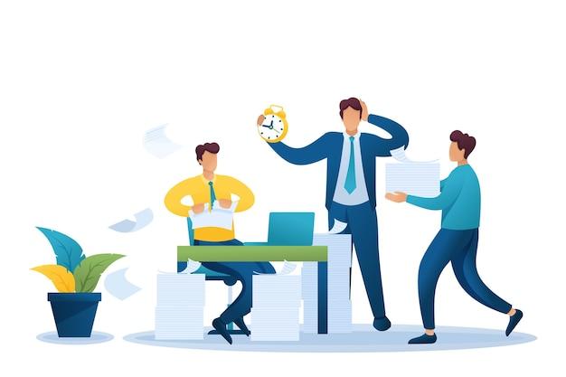 Stressvolle situatie op kantoor, proces van het verwerken van documenten op kantoor.