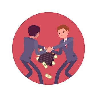 Strijd tussen zakenlieden om een geval van geld