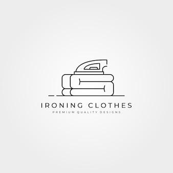 Strijken van kleren pictogram logo lijntekeningen minimaal illustratie ontwerp