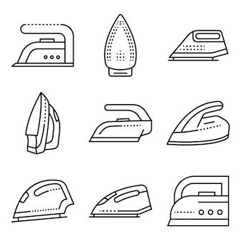 Strijkijzer pictogrammen instellen. overzichtset van strijkijzer vector iconen
