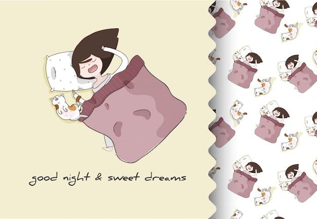 Strip cartoon platte meisje met kitten schattig slapen