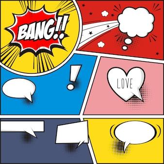 Strip verhaal en komische tekstballonnen op kleurrijke halftone vectorillustratie