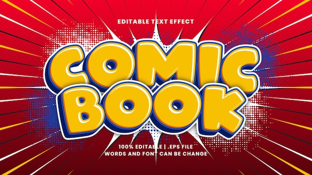 Stripboek bewerkbaar teksteffect met cartoon-tekststijl