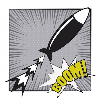 Stripboek explosie popart cartoon in zwart en wit