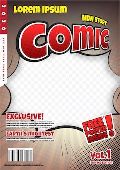 stripboek paginasjabloonontwerp. Tijdschrift omslag