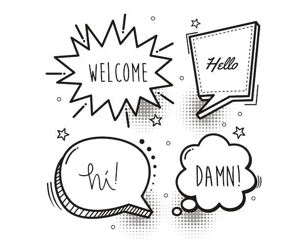 Stripboek tekstballon cartoon woord welkom, hallo, hallo, verdomme