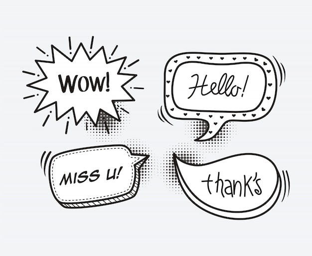 Stripboek tekstballon cartoon word wow, hallo, mis je, bedankt