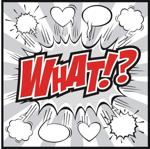 Stripboek-tekstballon met wat !? retro-strips van woordensymbolen