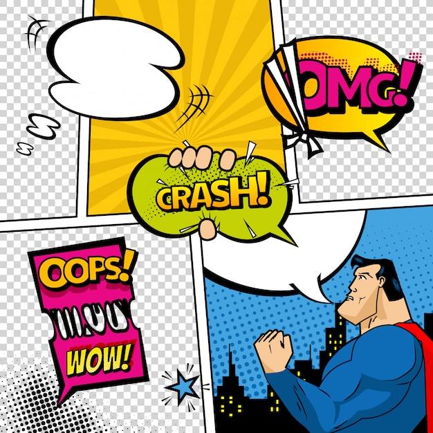 Stripboekpagina gedeeld door lijnen met spraak bubbels, superheld en geluiden effect.