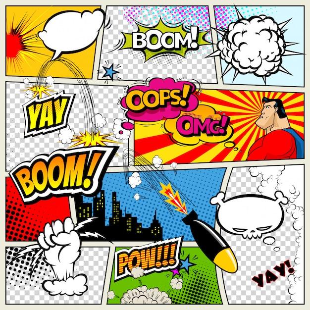 Stripboekpagina gedeeld door lijnen met tekstballonnen